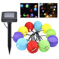 10 Garden Coloured Solar String LED Hanging Lantern Lights Set Chinese ED