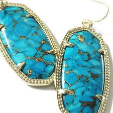 NEW! Kendra Scott DANIELLE Drop Earrings Brass Veined Turquoise & Dust Cover
