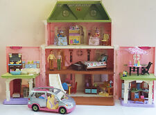FISHER PRICE 8 room LOVING FAMILY DOLLHOUSE w MOM DAD TWINS a lot FURNITURE VAN