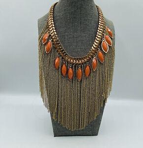 "Orange Goldtone Fringe Bib Statement Necklace 14"" Choker"