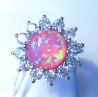 """GORGEOUS PINK  FIRE OPAL/WHITE TOPAZ   RING UK Size """"P"""" US 8"""