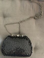 Expressions NYC Purse Little Evening Black Sequin Bag Chain Strap Hard Box Case
