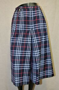 Jupe culotte BURBERRY'S tartan bleu 100% laine taille 14 EX long made in England