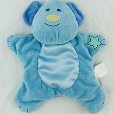 BRIGHT FUTURE Blue Puppy Dog Rattle Plush Lovey Satin Tummy Green Star