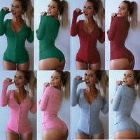 Bodysuit Shorts Blouse Women's Jumpsuit Romper Bodycon Sleepwear Sexy V Neck Top