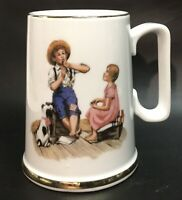"""Vintage Norman Rockwell """"Music Maker"""" Mug, Cup with Gold Gilding, VGC"""