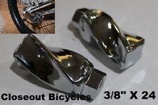 "2 TWISTED SQUARE CHROME 3/8""X24 LOWRIDER CRUISER BIKE BICYCLE CUSTOM AXLE NUTS"