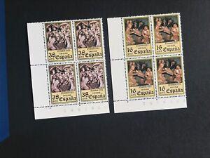 España 1983 seleccion de 5 sellos en bloque de 4 MNH
