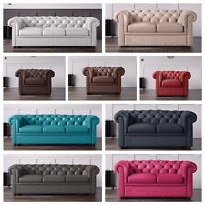 Leather Chesterfield Sofa Armchairs in Various Colours 3 + 2 + 1 Seaters