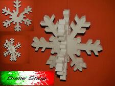 Kit 18pz fiocchi di neve 3D polistirolo 20/35/50 cm. Addobbo vetrine Natale