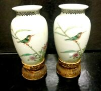 Pair of fine Chinese Miniature Egg Shell  Antique Hand Painted Vases/ Silk Bases