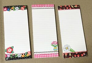 """SET OF 3 MARY ENGELBREIT 8""""L MAGNETIC SHOPPING 30 LINED SHEET LIST PADS!"""