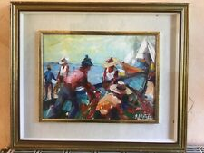 Gemälde Öl Bild Landschaft Maritim doppelter Rahmen hinter Glas 60x52 cm