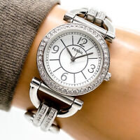 Fossil Womans Watch ES2498 Silver Dial CZ Crystal Stainless Steel 50m Working