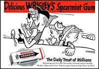1954 Wrigley's spearmint gum family car driving comic vintage art Print Ad  ads7