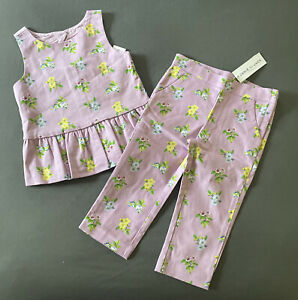 Toddler Girl Size 3 Janie and Jack Purple Floral Tank Top & Matching Pants Set