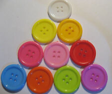 10 x Large MIXED COLOURS 4-Hole Plastic Buttons 22mm Wide (SB1B)