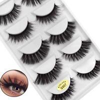 SKONHED 5 Pairs 3D Mink Hair False Eyelashes Wispy Cross Long Lashes Makeup~~-