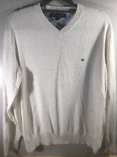 Tommy Hilfiger Mens Sweater White Size Med Crewneck Long Sleeve 100% Cotton vtg