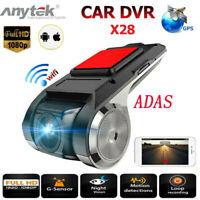 Anytek X28 1080P Car DVR Dash Cam Camera 150° WiFi GPS ADAS Video Recorder