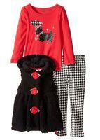 Girls 3Pc Sherpa Hooded Vest Shirt Pants Set Kids Headquarters Baby MSRP: $50.00