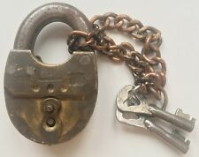 RARE COLLECTIBLE RUSSIAN EMPIRE WORKING BRASS PADLOCK WITH 2 Original Keys 1902
