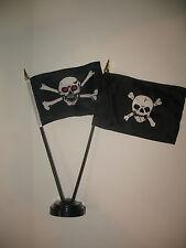 """Jolly Roger Red Eye Pirate Skull and Crossbones Flag 4""""x6"""" Desk Set Black Base"""