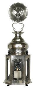 "Venetian Style Candle Lantern Lamp 13.6"" Silver Finish Light Fixture Wall Decor"