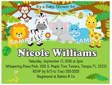 20 ZOO JUNGLE SAFARI ANIMALS BABY SHOWER INVITATIONS  W/ENVELOPES