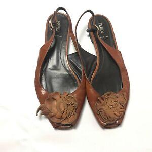 Fendi Slingback Sandal EU 40.5 US 10 Peep Toe Shoe Brown Leather Made In Italy
