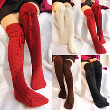 UK Womens Cable Knitted Over Knee Long Boot Thigh-High Warm Socks Leggings ZD