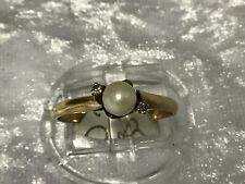 9ct yellow gold dress ring with pearl and clear stones P140768-2