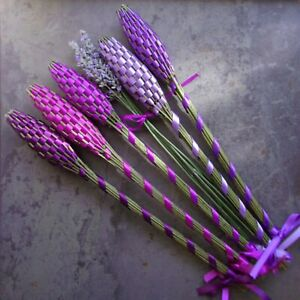 Lavender Filled Handwoven Wands Gift Set 5 Large Fragrant Flowers Regal Purples