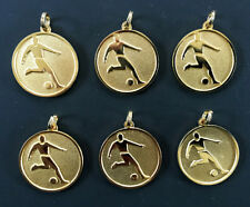 6 x new Soccer Player Pendants Medals bright gold plated 22mm diameter