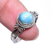 DOMINICAN REPUBLIC LARIMAR - 925 Sterling Silver Designer women Ring 7.5 US