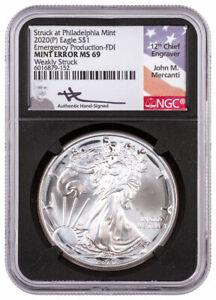 2020 (P) Silver Eagle Struck Phili Mint Error Weakly NGC MS69 FDI BC Mercanti