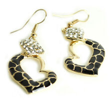 14K Gold Plated Crystal Heart Earring Handmade Fashion Jewelry - Black-SHIP Free