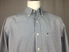 Izod Luxury Sport Blue Checks Button-Down Long Sleeve Dress Shirt L Large