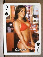 2004 Hooters Brunette Calendar Girl Clarissa 2 Club Playing Card Sexy Red Bikini