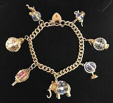 Stunning Vintage Crystal Charm Bracelet 9ct Gold Collectible