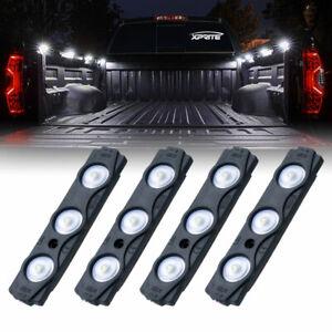 Xprite 4pcs 12LED Rock Lights for Pickup Trucks Bed/Deck/Grill Decoration Pods