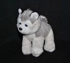 Peluche doudou chien husky PAUL IMPORT GMBH blanc gris yeux nez durs 12 cm TTBE