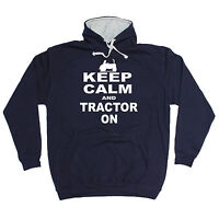 KEEP CALM AND TRACTOR ON HOODIE joke farmer hoody funny birthday gift present