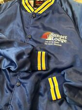 Vintage Sunset Lodge Pla-Jac Xl Men's Satin Jacket Hipster Rare! Minnesota Vtg