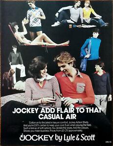 Jockey by Lyle & Scott Jockey Add Flair To That casual Air Vintage Advert 1976