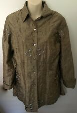 Chico's Design 100% Silk tunic Jacket w Embroidery Taupe?gold beading floral Siz