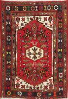 Nomad Geometric Tribal Hamadan Area Rug Hand-Knotted Oriental Kitchen Carpet 3x5