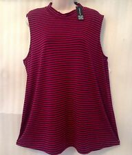 Cable Gauge Plus size Knit Top 22/24/2X Berry Black Stretch Striped Pullover New