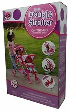LISSI DOLL DOUBLE STROLLER FITS 2 DOLLS COLOR:PURPLE POLKA DOTS NEW IN BOX