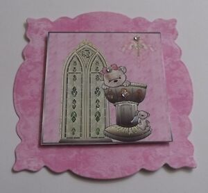 PK 2 PINK GIRL CHRISTENING TOPPERS EMBELLISHMENTS FOR CARDS/CRAFTS